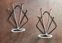 "A Pair Of Mid Century ""Sputnik"" Wall Hanging plant Holders"